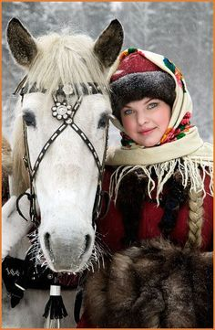 ☞…… Norway - beautiful woman with horse in snow.