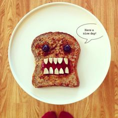 Cute breakfast toast for cranky morning kiddos. More fun kid food ideas for everyday use or for parties at http://pinterest.com/wineinajug/kid-food/