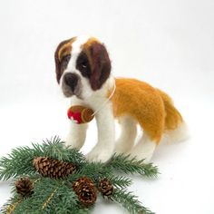 Needle Felted Dog St Bernard Sculpture Wool by WoolSculptures