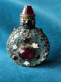 Antique Czech Miniature Perfume Bottle Encrusted with stones, original, rare, 1900 or earlier Ormulu