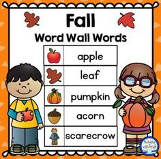 40 FALL themed words that can be used on a word wall or pocket chart for a variety of activities! Perfect for your writing center in Kindergarten, First and Second grade! Kindergarten Themes, Kindergarten First Day, Preschool Education, Teaching Kindergarten, Teaching Ideas, Preschool Word Walls, Fall Words, Word Free, Beginning Of School