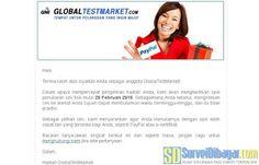Email pemberitahuan dari GlobalTestMarket | SurveiDibayar.com