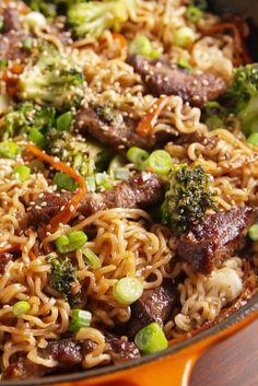 Mongolian Beef Ramen - can also use chicken per Laura Sapieszko
