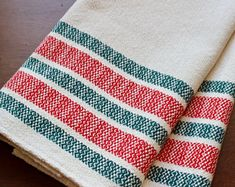 Your place to buy and sell all things handmade Christmas Dishes, White Christmas, Basket Weaving, Hand Weaving, Dish Towels, Kitchen Towels, Hostess Gifts, Candy Cane, Cotton Linen