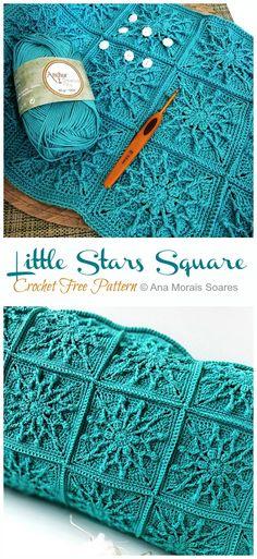 Twinkle Little Stars Square Crochet Free Pattern - Crochet & Knitting - Stricken. - Twinkle Little Stars Square Crochet Free Pattern – Crochet & Knitting – Stricken ist so einfach - Crochet Gratis, Cute Crochet, Crochet Baby, Knit Crochet, Crochet Quilt, Crotchet, Stitch Crochet, Crochet Stitches, Crochet Afghans
