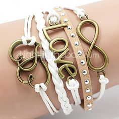 Leather Bracelet Multilayer Alloy Love and Heart Infinite Handmade Bracelet 2016 - $1.99