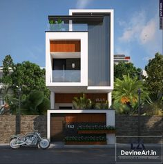 Narrow House Designs, Modern Small House Design, Small House Exteriors, Modern House Facades, Minimalist House Design, Townhouse Designs, Bungalow House Design, House Front Design, D House
