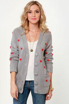 Cute Grey Sweater - Cardigan Sweater - Heart Sweater - $47.00