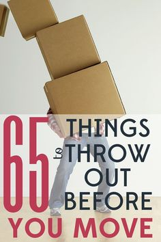 Planning a move? It's a perfect time to purge and make a fresh start. Here are 65 things you can toss without guilt! Planning a move? It's a perfect time to purge and make a fresh start. Here are 65 things you can toss without guilt! Moving House Tips, Moving Home, Moving Day, Moving Out List, Budget Moving, Moving Costs, Planning A Move, Packing To Move, Moving Packing Tips