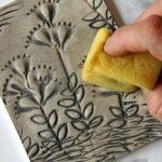 tiles imprinted with pasta, fun for a kids camp.  Of course glaze it with Stroke & Coat for a one time firing.