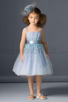 Tulle Sequins Sprinkled Bodice Tea-Length Flower Gril Dress