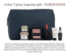 Spend $45 and get this Lancome gift. No promo code required. Lancome Gift Set, Lancome Gift With Purchase, Nordstrom, Cosmetics, Gifts, Presents, Favors, Drugstore Makeup, Gift