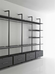 BROMPTON – designer Shelves from Boffi ✓ all information ✓ high-resolution images ✓ CADs ✓ catalogs ✓ contact ✓ find . Walk In Closet Design, Bedroom Closet Design, Wardrobe Design, Closet Designs, Clothing Store Interior, Dressing Room Closet, Boffi, Dressing Room Design, Bedroom Wardrobe