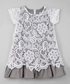 Another great find on #zulily! White & Gray Lace Overlay Dress - Infant, Toddler & Girls #zulilyfinds