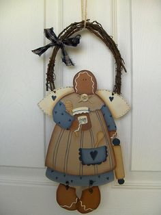 gingerina design by Silvana Torchio by countrykitty Gingerbread Man Crafts, Gingerbread Decorations, Pintura Country, Tole Painting, Painting On Wood, Primitive Crafts, Wood Crafts, Estilo Country, Beaded Cross