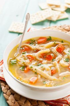 This homemade chicken noodle soup recipe from scratch is a stand-by in our house when I'm craving something homemade and feel a little ambitious. I like to cook the chicken in a crock pot using bone-in chicken thighs, as it makes the best chicken noodle soup….the bones add a lot more flavor and the chicken …