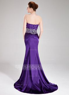 Trumpet/Mermaid Sweetheart Sweep Train Charmeuse Prom Dress With Beading Split Front (018019171)