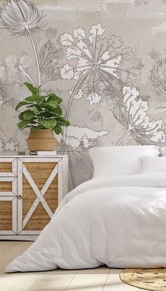 If you love neutral colour schemes then this bedroom inspiration is for you! Pair this gorgeous Neutral Florals wallpaper with a simple bed with no headboard. Style with crisp white bedding and curtains and add rattan and basketweave accessories throughout to pull in the warm neutral tones. This bedroom is just so relaxing! Head to Wallsauce.com to get the look!