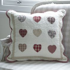 Patchwork 9 Hearts Reds Cushion ~  Pretty quilted patchwork cushion . A mixture of gingham and check hearts.