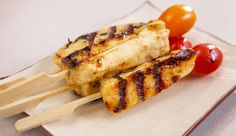 Lime and Honey Haloumi Skewers - Good Chef Bad Chef Skewer Recipes, Veggie Recipes, Whole Food Recipes, Vegetarian Recipes, Snack Recipes, Dinner Recipes, Cooking Recipes, Healthy Recipes, Honey Recipes