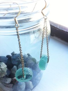 Pacific Coast Beach Glass Drop Earrings. $22.00, via Etsy.
