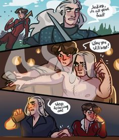 geralt u cant be angry at him and still hold his hand cmon The Witcher Geralt, Witcher Art, Alucard Castlevania, A Series Of Unfortunate Events, White Wolf, Shounen Ai, Cute Gay, Cute Love, Faeries