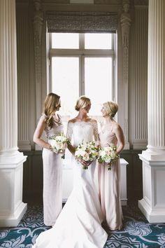 Mix and match bridesmaid dresses: http://www.stylemepretty.com/2014/10/16/contemporary-portland-ballroom-wedding/ | Photography: Christy Cassano-Meyer - http://christycassanomeyer.com/