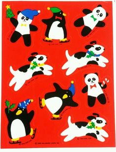 CHRISTMAS DOGS, PENGUINS & PANDAS STICKER SHEET | HALLMARK