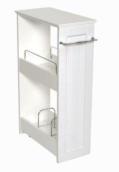 Zenna Home 9227WWBB, Slimline Rolling Storage Shelf, White ZPC Zenith Products Corporation http://www.amazon.com/dp/B006H1R2VG/ref=cm_sw_r_pi_dp_unbbvb0R8EEMH