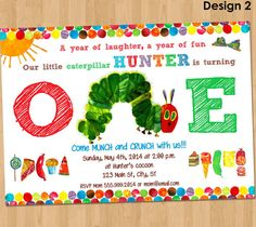 Very Hungry Caterpillar Invitation - First Birthday Boy or Girl Printable Party Invite Custom Personalized Card Supplies - 4x6 5x7 1st on Etsy, $5.50