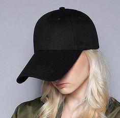 Plain black baseball cap longer brim UV protection sun hats summer