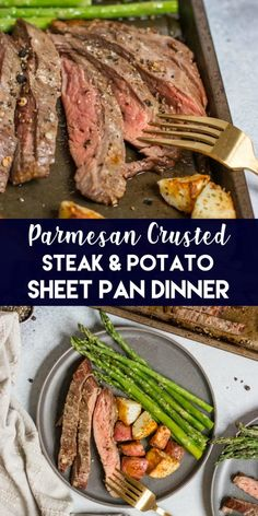 Low Carb Recipes To The Prism Weight Reduction Program Dinner On One Pan With This Parmesan Crusted Steak And Potato Sheet Pan Dinner Means Simple And Delicious Dinner Without The Extra Dishes Juicy Flank Steak And Crispy Potatoes Served With Asparagus. Steak Potatoes, Crispy Potatoes, Parmesan Potatoes, Beef Recipes, Cooking Recipes, Healthy Recipes, Potato Recipes, Soup Recipes, Cooking Ribs