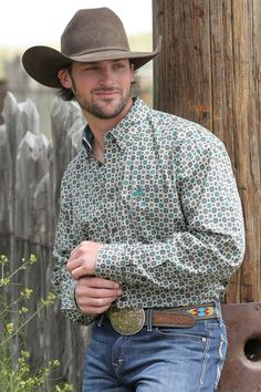 ae6082c9 Cinch Men's Brown/Khaki/Teal Print Long Sleeve Button Down Shirt - Fuller  body