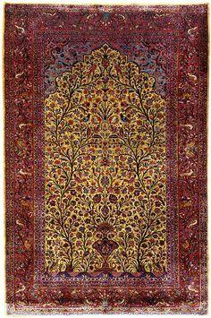 Kashan Rugs: Silk Kashan Prayer Rug C. 1900