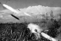 """""""Nebelwerfer 41"""" in action, 1942 Russia, Demiansk."""