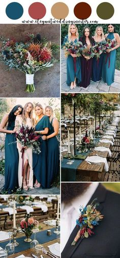 Top 10 Gorgeous Blue Wedding Color Combos for 2019 jewel tone teal blue,dark red, pink rustic chic fall wedding color inspiration - Boho Wedding Bodas Boho Chic, Perfect Wedding, Dream Wedding, Wedding Bouquets, Wedding Dresses, Bridesmaid Bouquets, Bridesmaid Color, Peacock Bridesmaid Dresses, Teal Bridesmaids