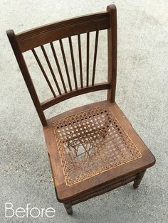 Have you ever passed on a chair because it had a damaged seat? Well today I am getting together with my Furniture Fixer Upper girls to Interior Design Diy, Refinished Chairs, Old Chairs, Wooden Chair Makeover, Cane Rocking Chair, Flipping Furniture, Retro Dining Chairs, Wooden Chair, Swinging Chair