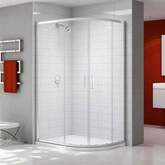 Ionic by Merlyn Express 2 Door Offset Quadrant Shower Door - Modern White Bathroom Interior, Quadrant Shower Enclosures, Shower Cubicles, Shower Cleaner, Shower Systems, Safety Glass, Towel Rail, Shower Doors, Bathroom Accessories
