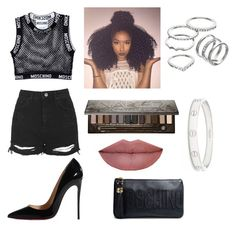 """""""❤️❤️❤️"""" by victoriamajors ❤ liked on Polyvore featuring Moschino, Topshop, Christian Louboutin, Apt. 9, Urban Decay and Cartier"""