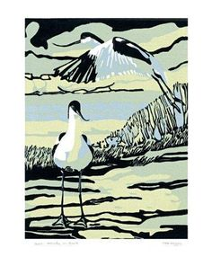 Printmakers card design. Two Avocets in June by Max Angus