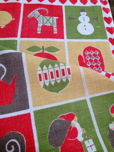 60s Vintage modern christmas retro kitchen towel. Sweden Almedahls design
