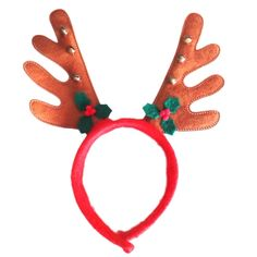 Brown Non-woven Antler Headband Hairband with Leaves & Bell, Pack of 2 Material: Plastic, Nonwoven Product Size:27*23cm Very cute,great gift for youself and your friends High quality,comfortable and soft Surface Washable Material: Polyester fiber,plastic beads