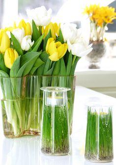 kukat,kynttilät,kasvit sisustuksessa,rairuoho,tulppaanit,pääsiäinen,Tee itse - DIY