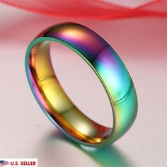 USA 6mm Colorful Rainbow Stainless Steel Couple Wedding Band Ring Jewelry