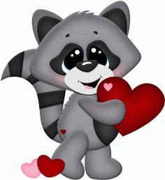 Silhouette Design Store - View Design #74202: valentine raccoon holding heart