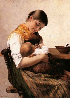 Georgios Jakobides (Greek, Mother and Child nd painting - oil on canvas x 66 cm x 26 in) private collection Artists For Kids, Art For Kids, Mother And Child Painting, Madonna And Child, Greek Art, Paintings I Love, Beautiful Paintings, Mother And Baby, Mothers Love