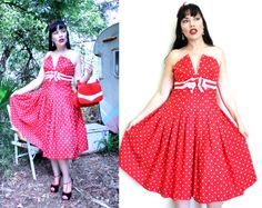 Red and White Spot Polka Dot Dress Full skirt grosgrain shelf bust Xs 8 think this is pretty cool 50s Skirt, Full Skirt Dress, Swing Skirt, Dot Dress, Sequin Dress, Strapless Dress, Layered Wedding Dresses, Lilac Prom Dresses, Pleated Bodice
