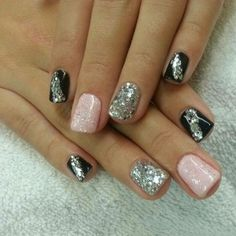 Glitter black, silver and pink :)