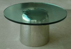 """Silver Obus"" Side Table in silver-plated bronze and glass top by Eric Schmitt (© 2009)"