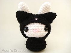 So cute! Black Cat Moon Bun  Amigurumi Bunny Rabbit Doll by MoonsCreations
